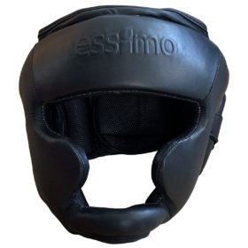 Essimo Headguard Leather With Chin - Black/Black