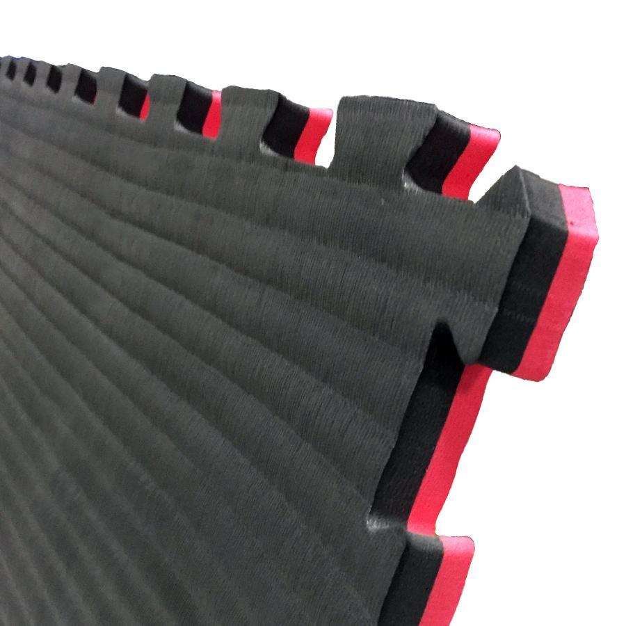 Puzzelmatten 4 cm Zwart/Rood (per 5 stuks)