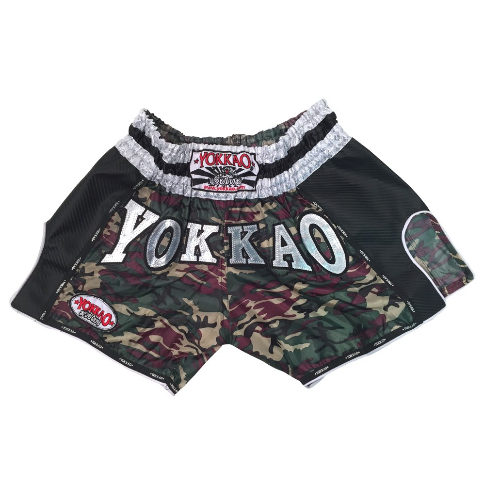 Yokkao Carbon Muay Thai Shorts Green Army maat S