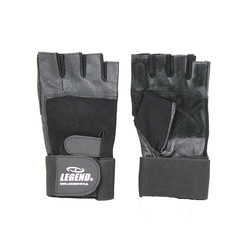 Fitness handschoenen leder zwart