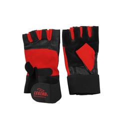 Fitness handschoenen leder zwart/rood