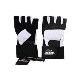 Fitness handschoenen leder zwart/wit