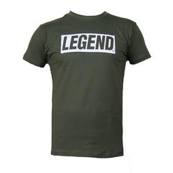 Slim-fit T-Shirt Groen Legend power quote
