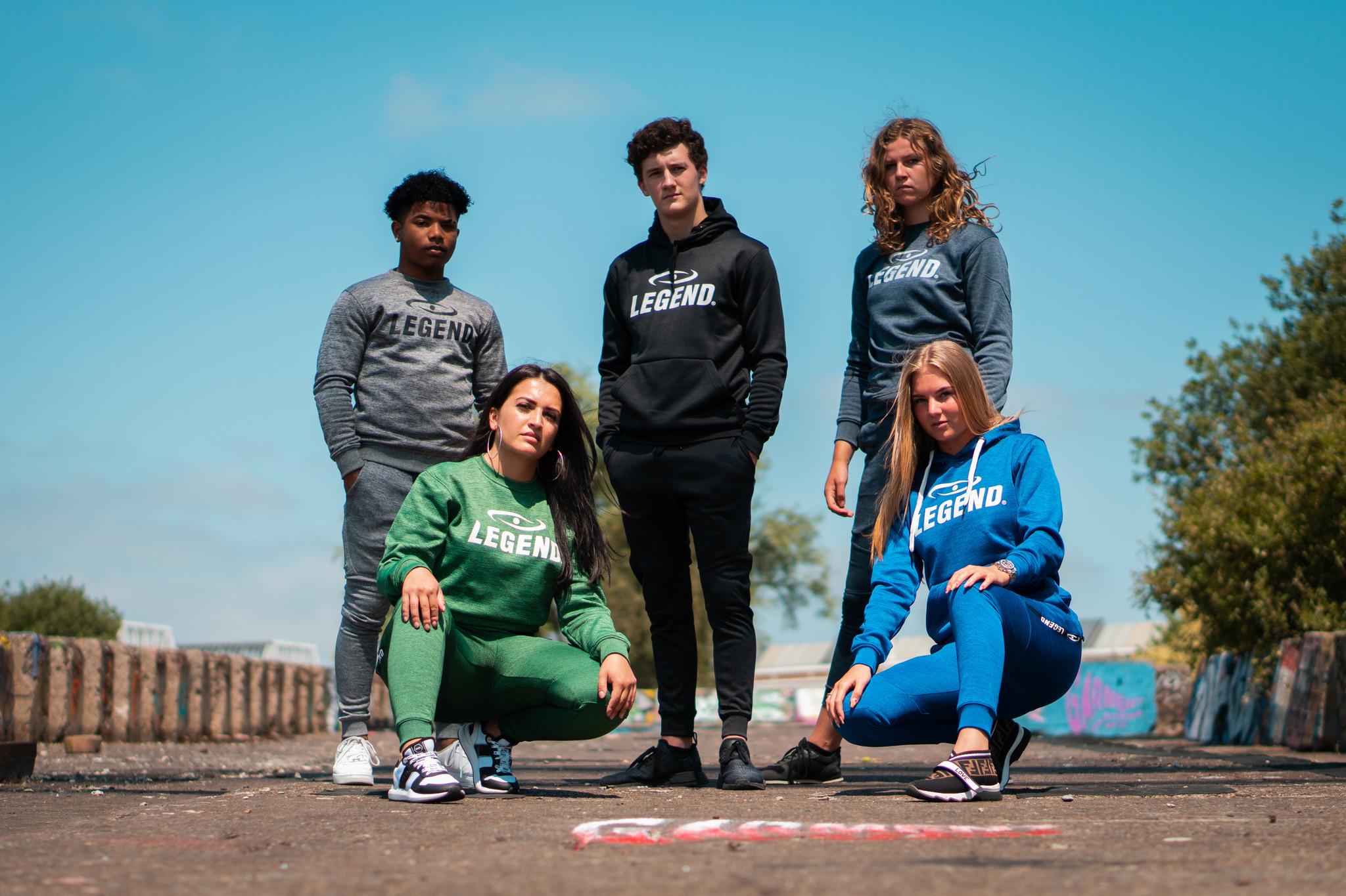 Joggingpak dames/heren met hoodie navy blauw