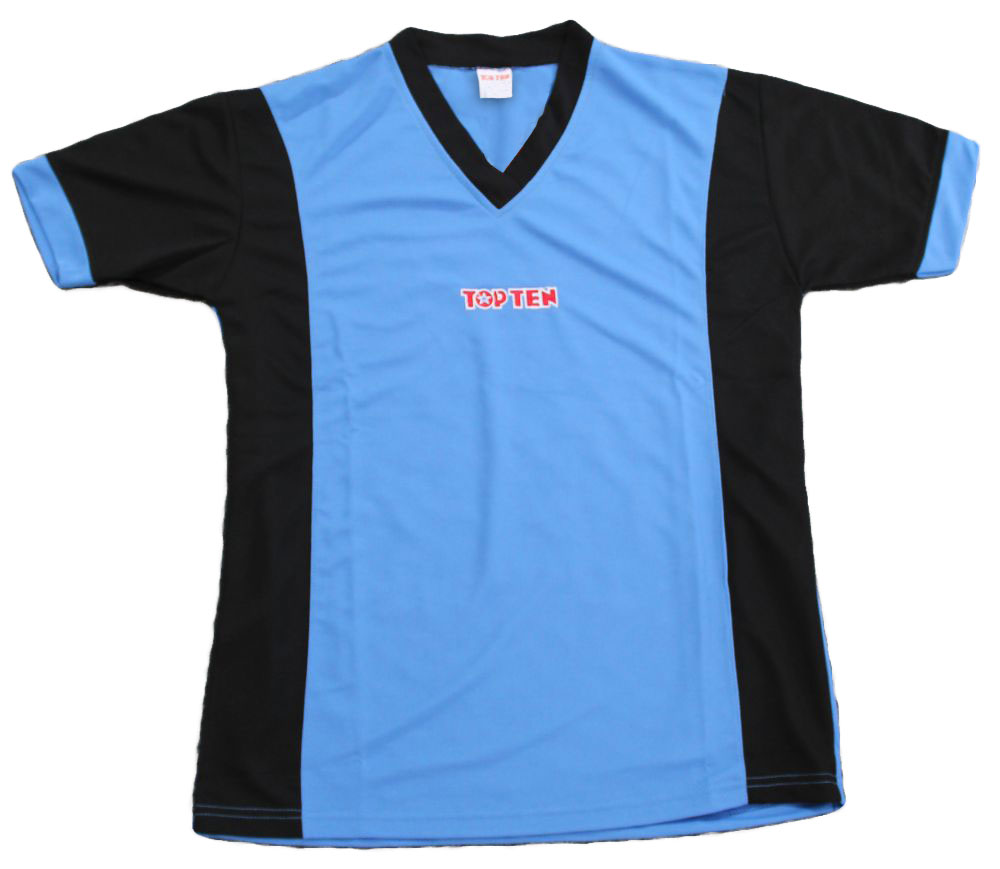 """T-Shirt  V-Hals """"UNISEX"""" Blauw - Zwart"""