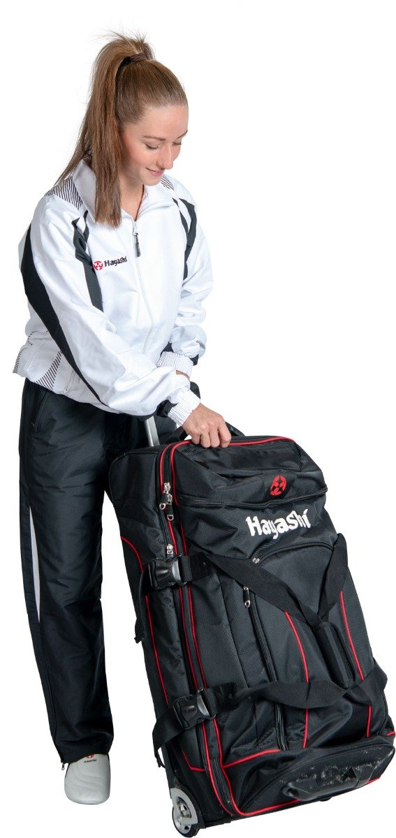 """Hayashi Trolley """"Deluxe Travel"""" Jumbo Zwart - rood"""