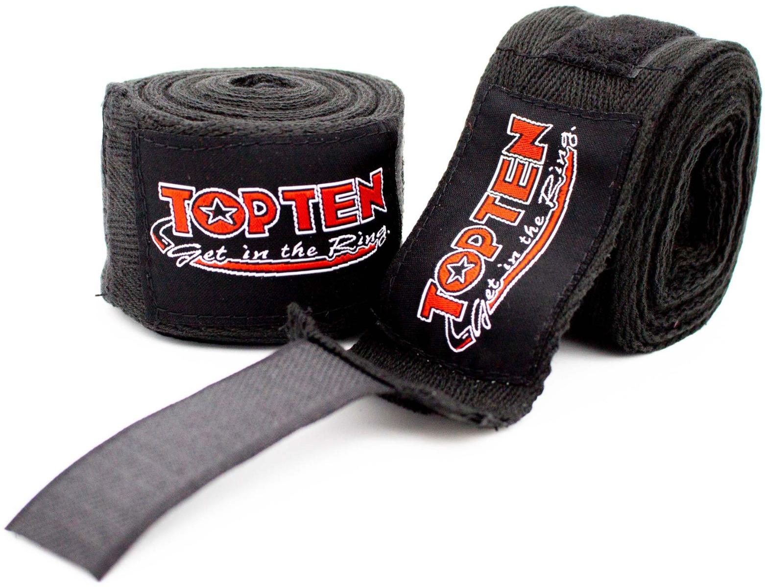TOP TEN Boksbandage  boxing bandage inelastic Zwart
