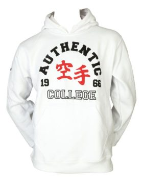 "Hoodie ""Authentic Karate College"" Wit"