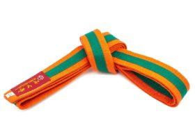 Karateband tweekleurig Oranje - Groen