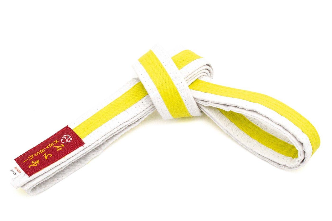 Karateband tweekleurig Wit - Geel
