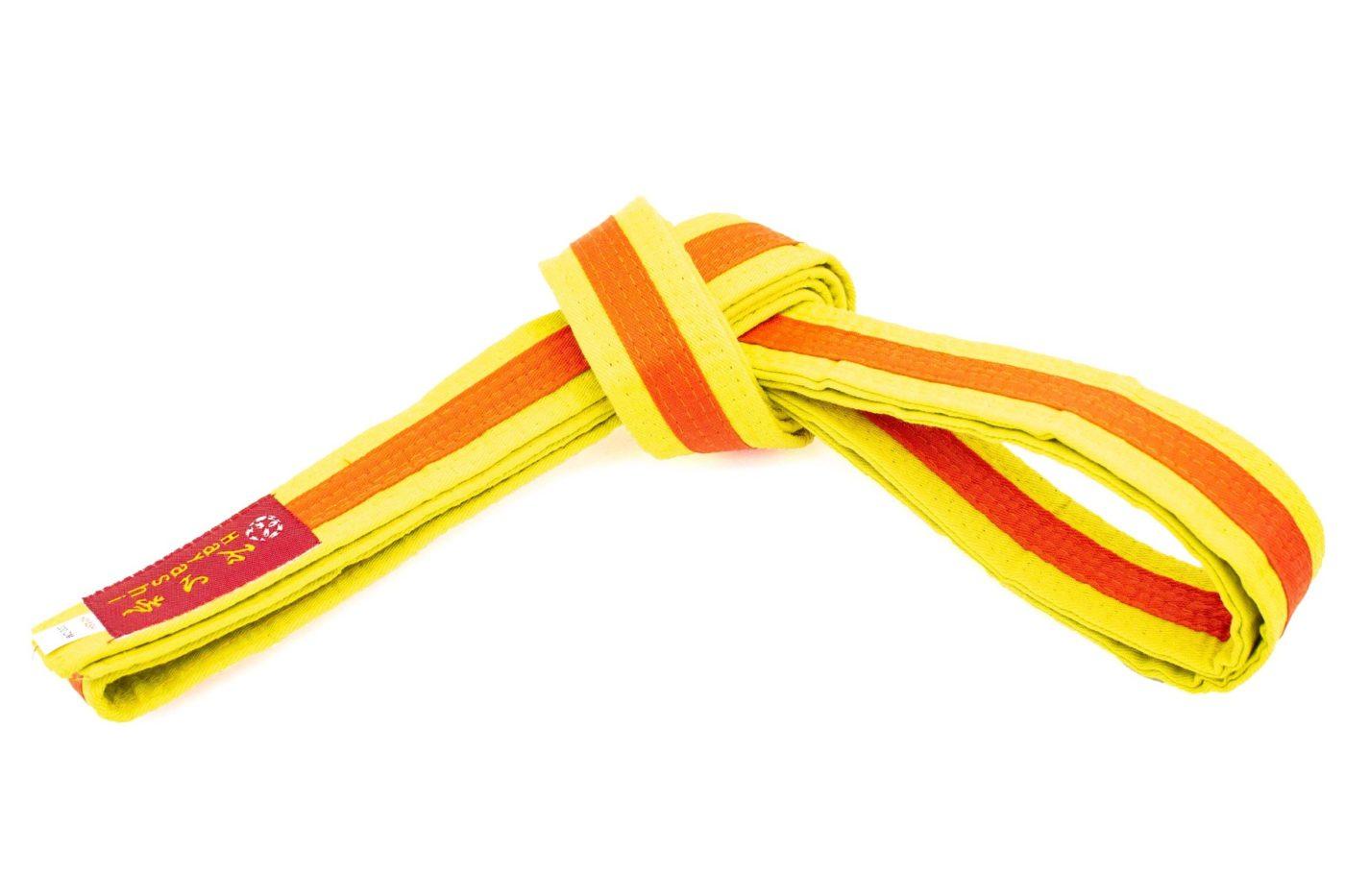 Karateband tweekleurig Geel - Oranje