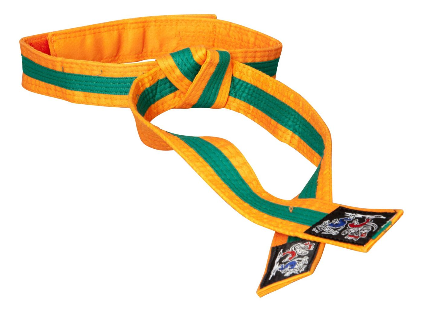 """Karateband """"KAMPFKATZEN"""" tweekleurig Oranje - Groen"""