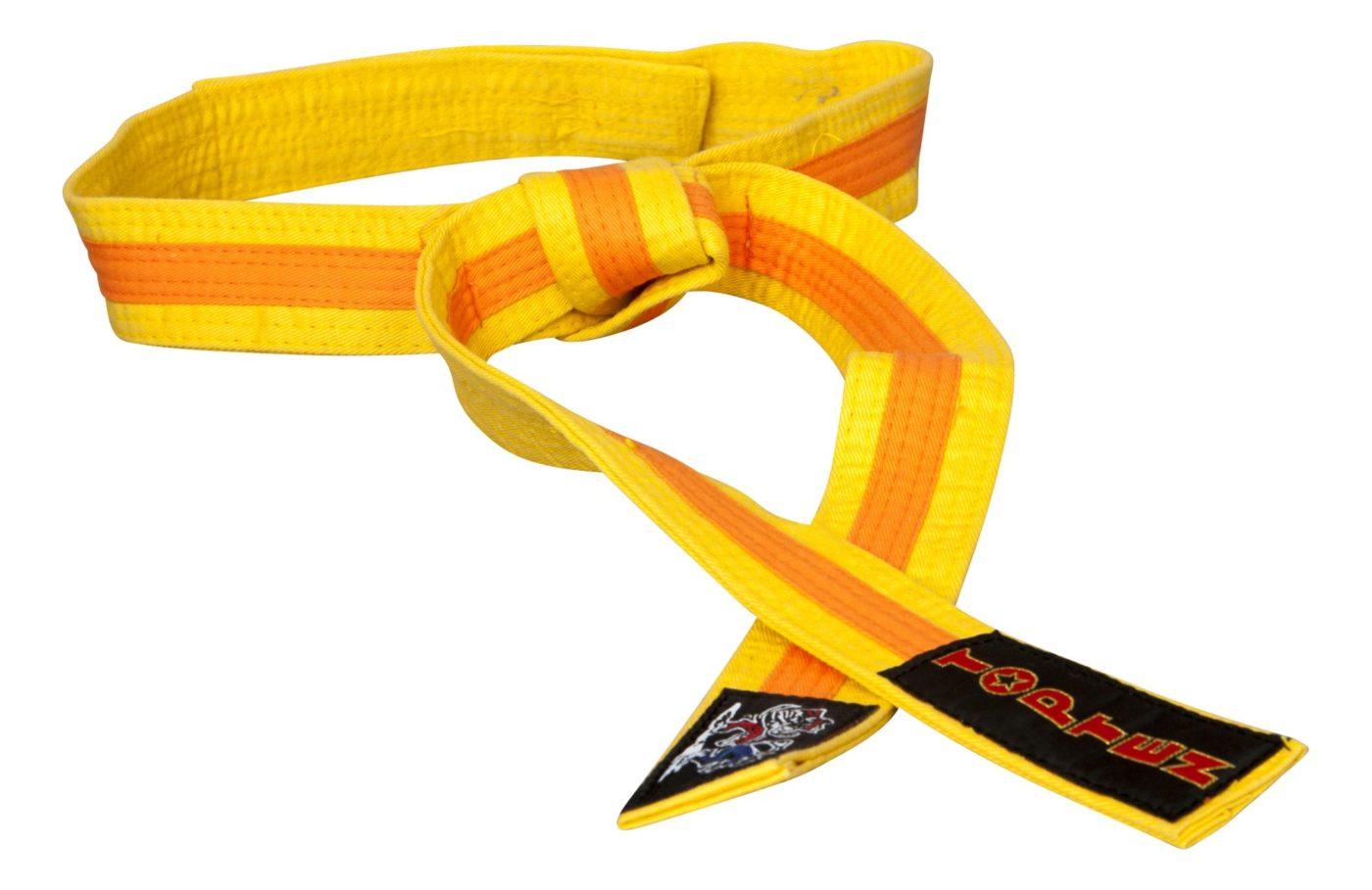 """Karateband """"KAMPFKATZEN"""" tweekleurig Geel - Oranje"""