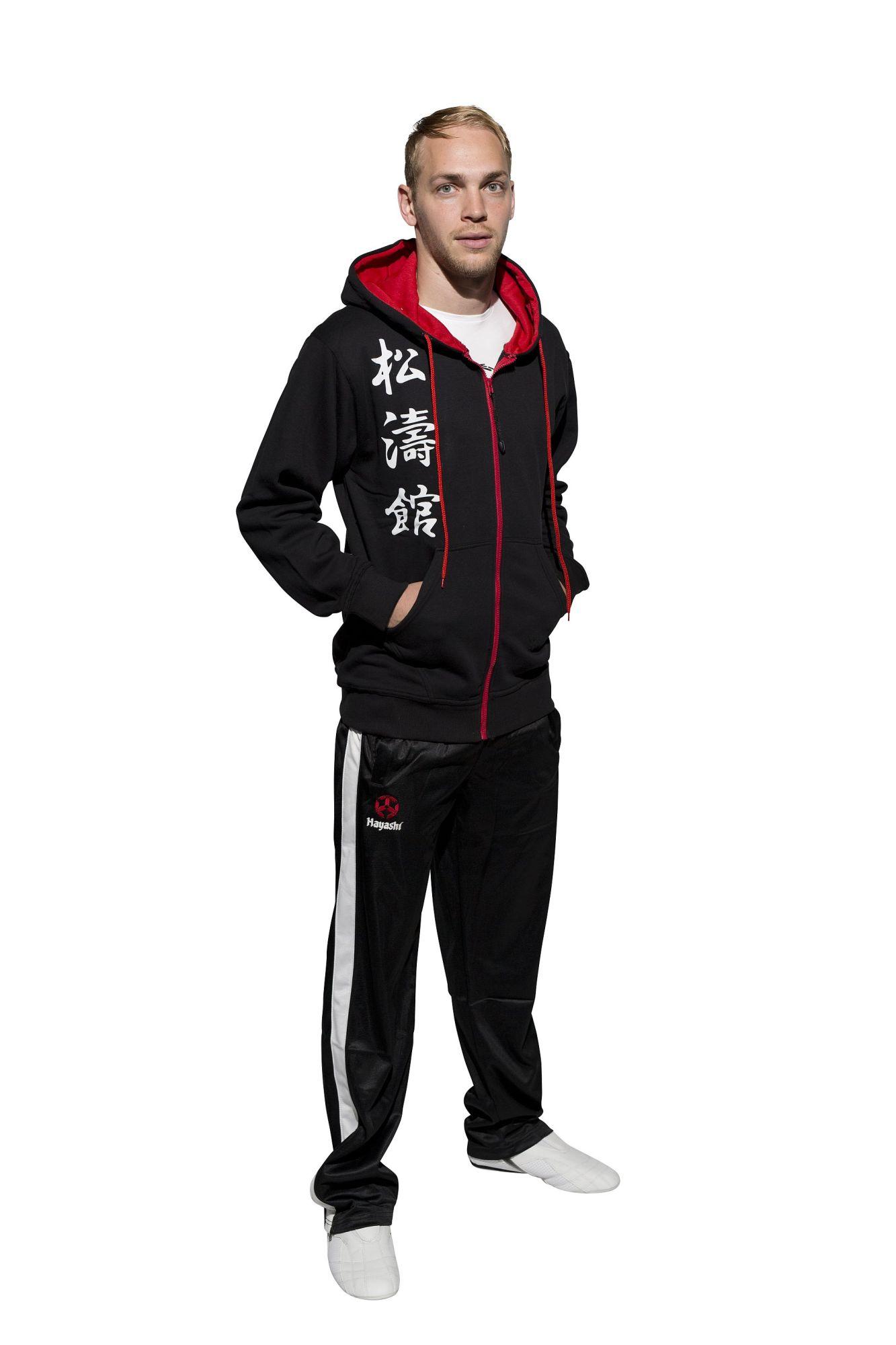 "Hayashi Trui met hoodie en rits ""Kanjin"" Zwart - rood"