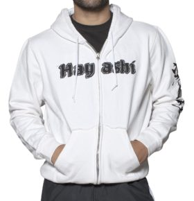 """Trui met hoodie en rits """"Karate-Do"""" Wit"""