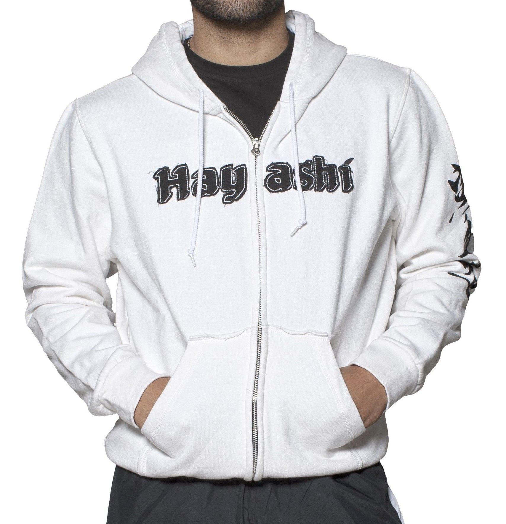 """Hayashi Trui met hoodie en rits """"Karate-Do"""" Wit"""