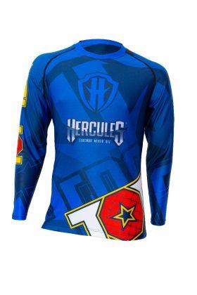 """TOP TEN MMA Rashguard """"Hercules"""" Blauw - Geel"""