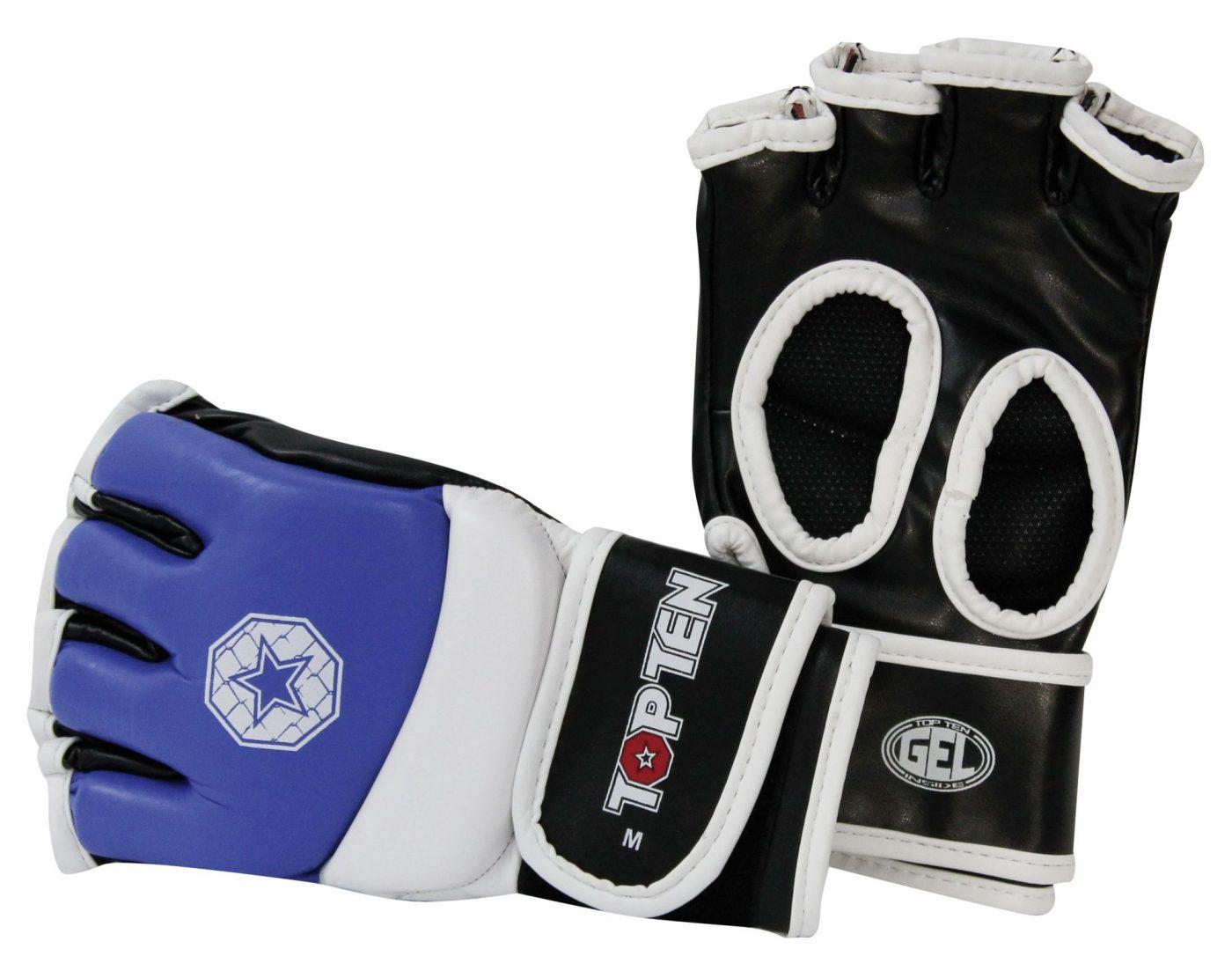 TOP TEN MMA MMA handschoenen voor amateur wedstrijden Blauw - Wit