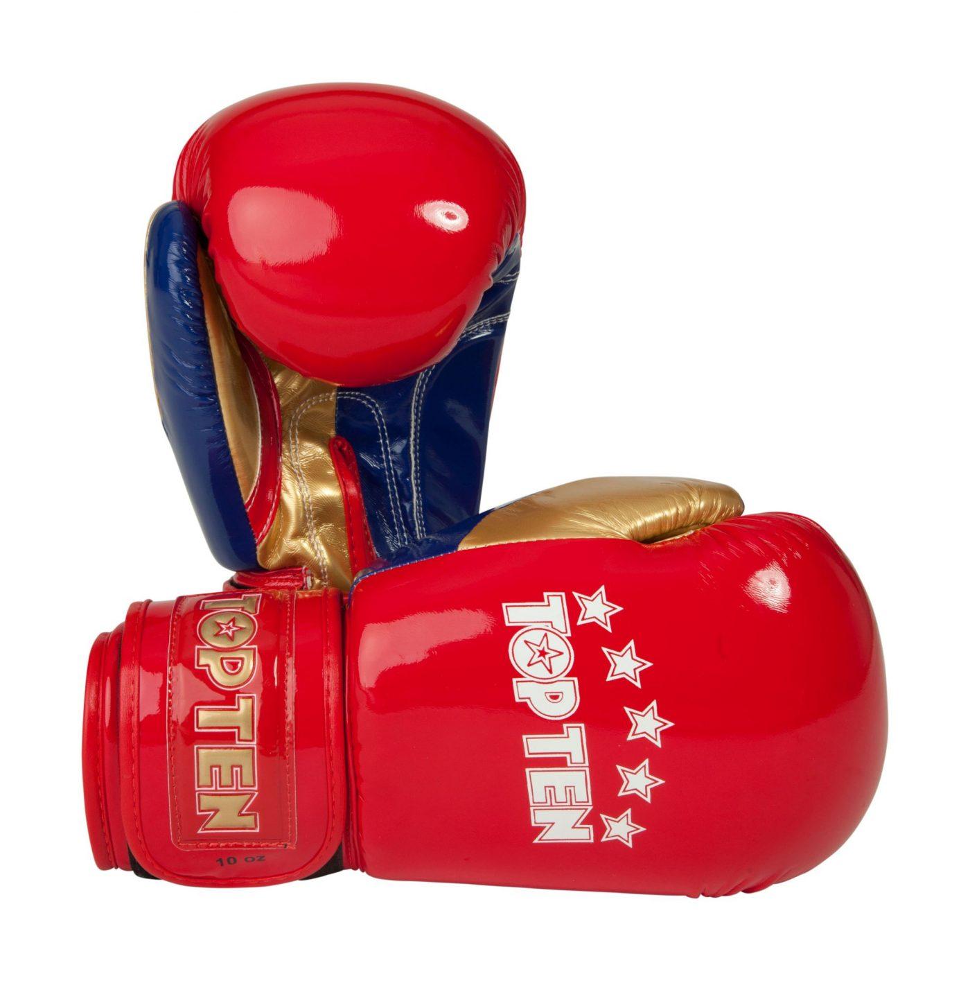 "Bokshandschoenen ""Champion"" in glossy look goud - rood"