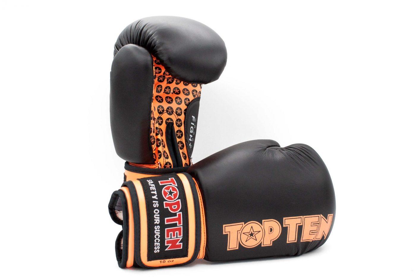 """TOP TEN Bokshandschoenen """"Fight"""" Zwart - Oranje"""