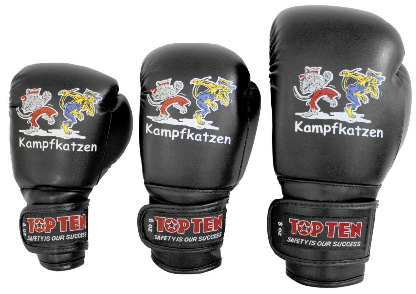 """Bokshandschoenen """"Kampfkatzen"""" Zwart"""