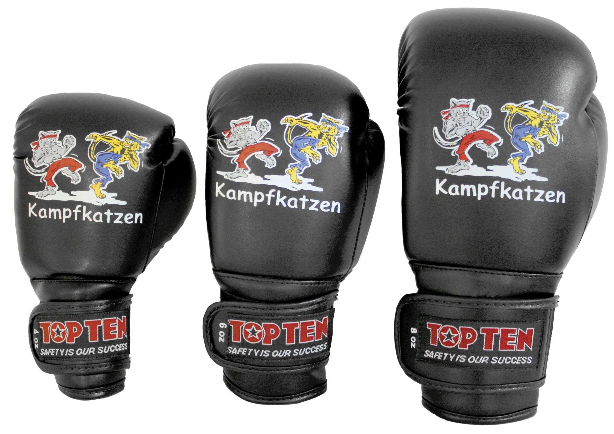 """TOP TEN Bokshandschoenen """"Kampfkatzen"""" Zwart"""