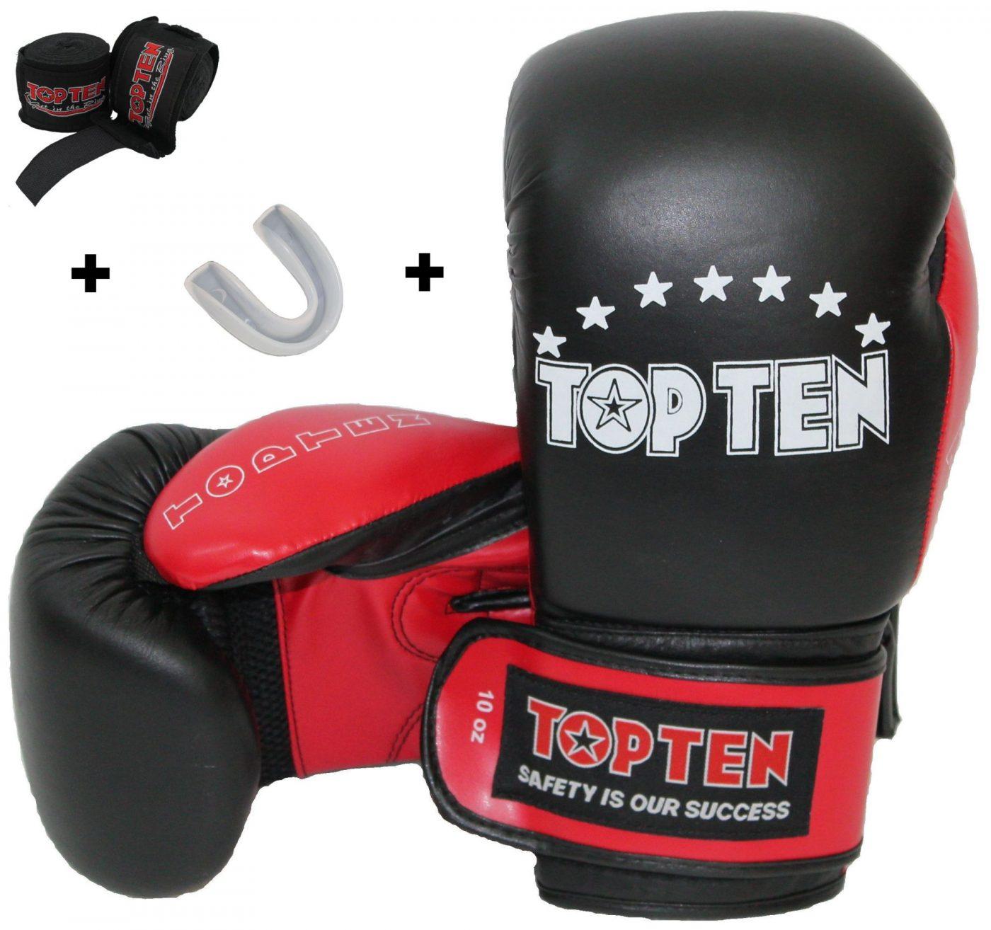 Bokshandschoenen Starter Kit incl. gebitsbeschermer en bandages Zwart - rood