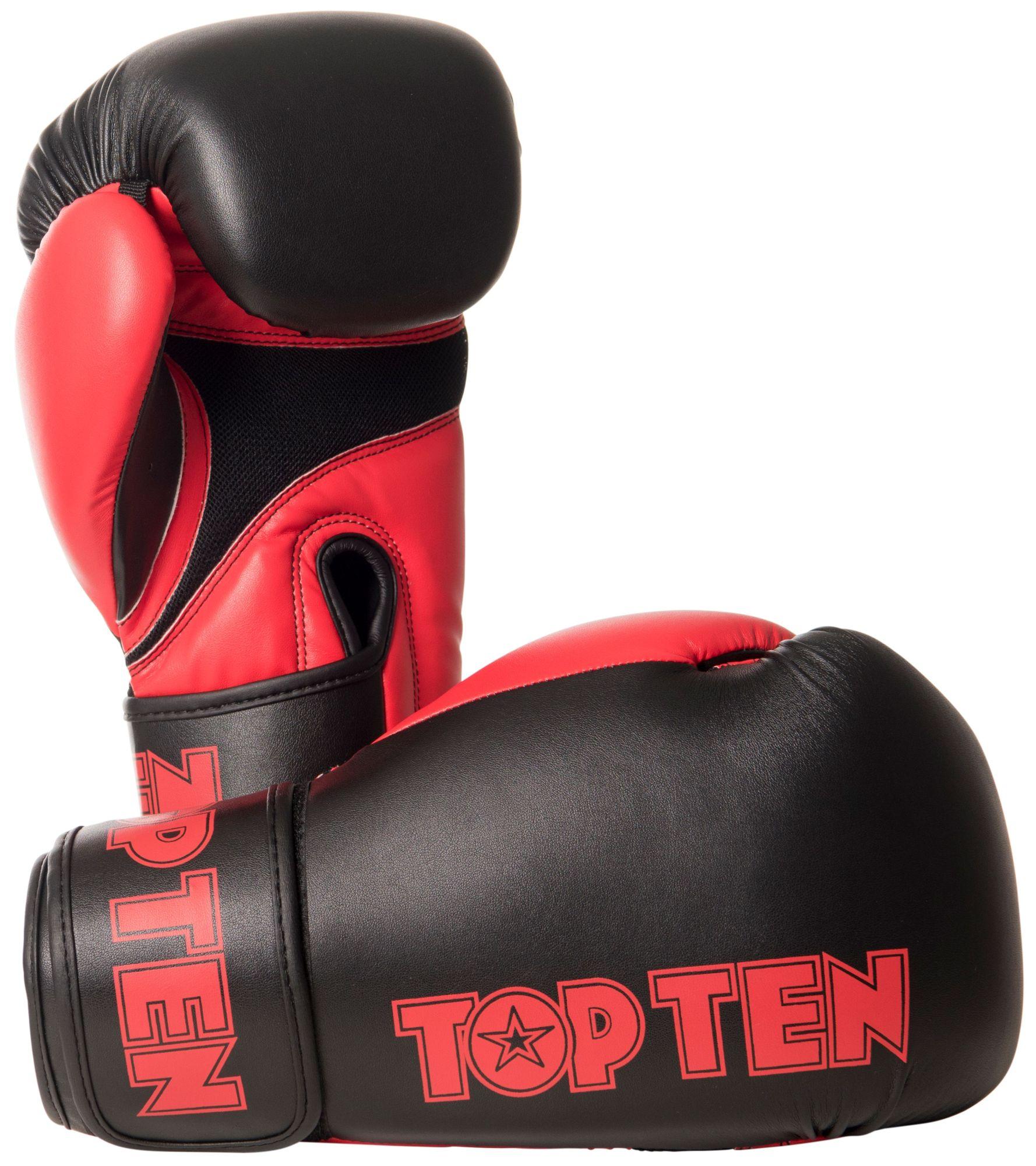 """TOP TEN Bokshandschoenen """"XLP"""" Zwart - rood"""
