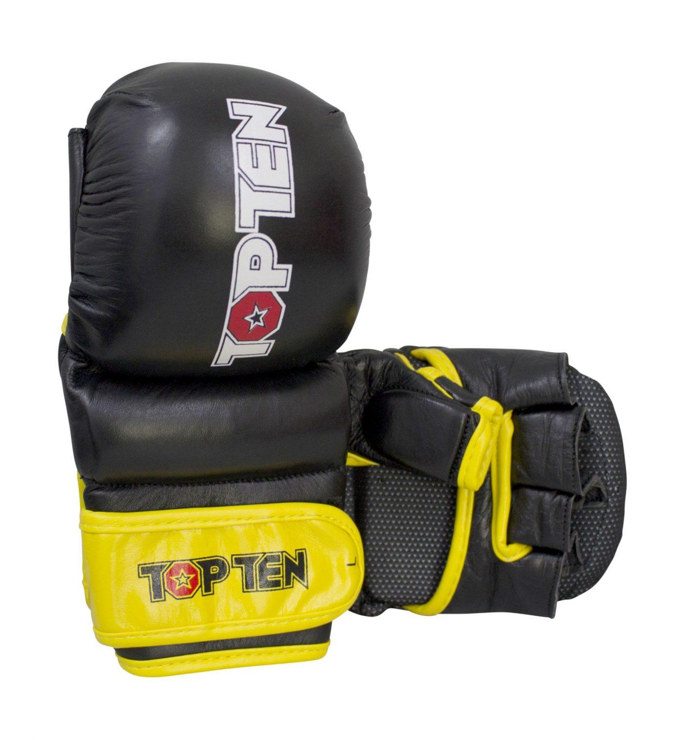 """TOP TEN MMA Grappling gloves """"Thumb Guard"""" Zwart - Geel"""