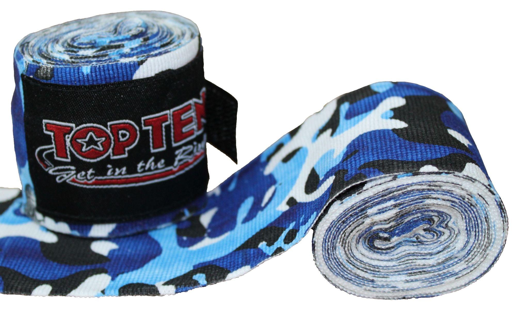 """TOP TEN Boksbandage  boxing bandage elastic """"Camouflage"""" Blauw - Wit"""