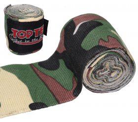 """Boksbandage  boxing bandage elastic """"Camouflage"""" Groen - Bruin"""