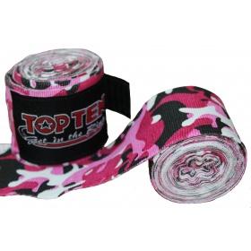 """TOP TEN Boksbandage  boxing bandage elastic """"Camouflage"""" rosé - Wit"""