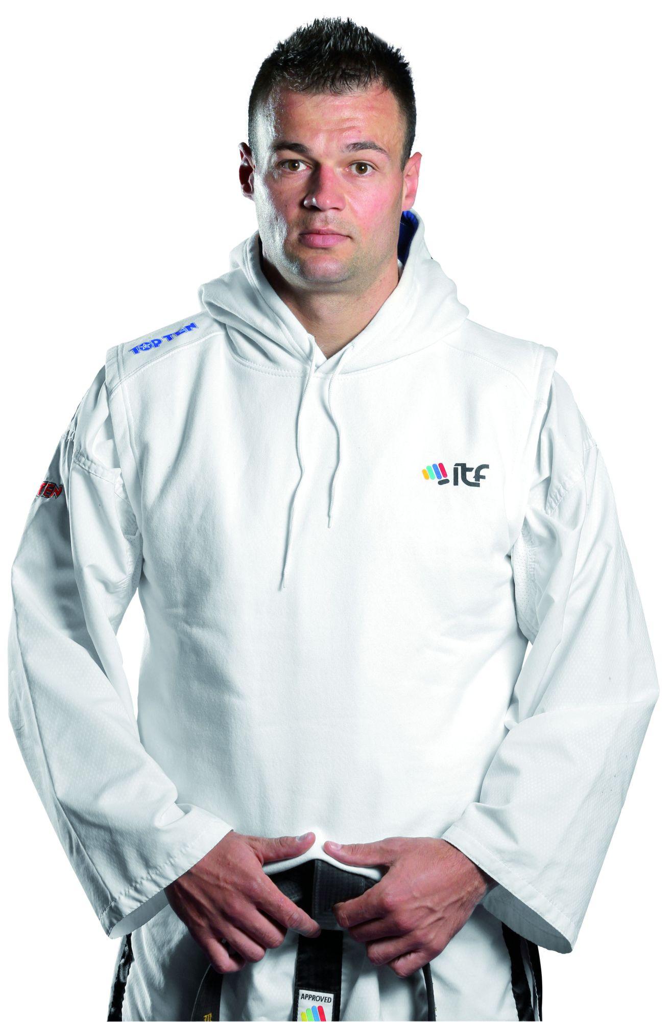 """TOP TEN Hoodie """"ITF Taekwondo"""" Wit"""
