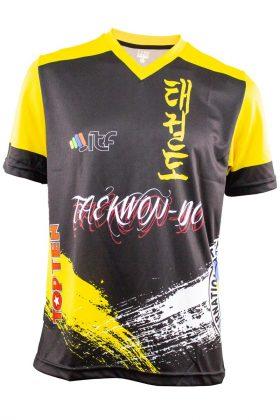 """ITF shirt """"Storm"""" met V-Hals Zwart - Geel"""