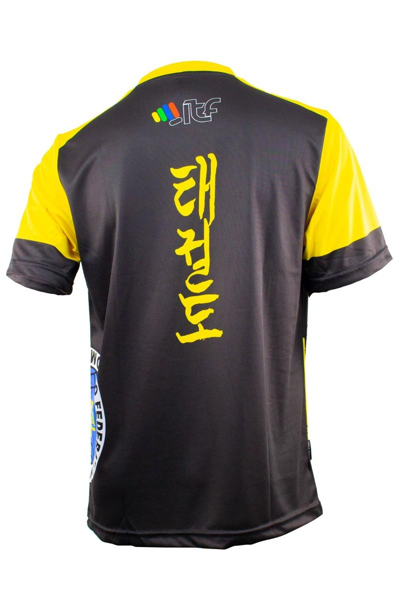 """TOP TEN ITF shirt """"Storm"""" met V-Hals Zwart - Geel"""