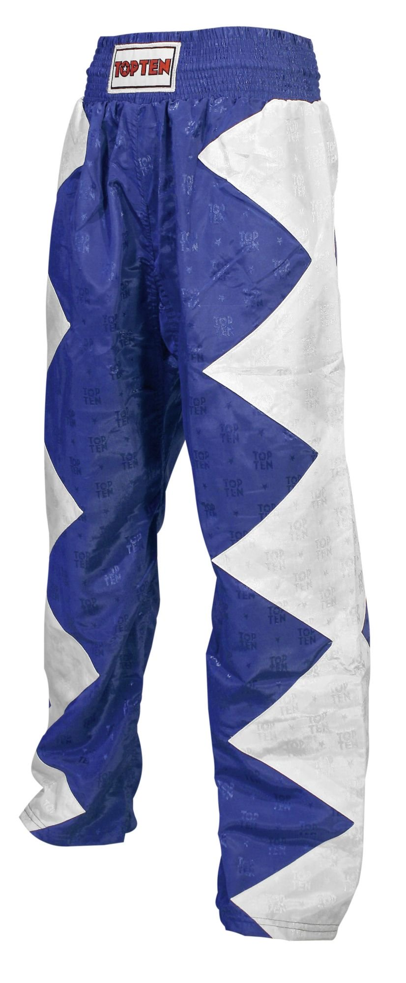 "TOP TEN Kickboksbroek ""Champ"" Wit - Blauw"