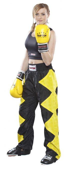 """Kickboksbroek """"Champ"""" Geel - Zwart"""