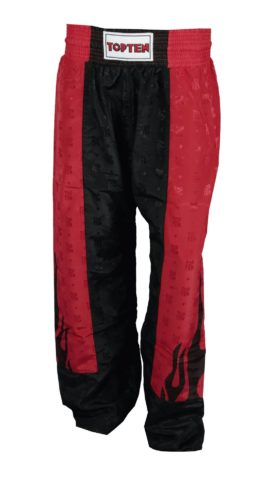 "TOP TEN Kickboksbroek ""Flame"" Zwart - rood"