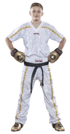 "Top Ten Point Fighting lange kickboksbroek ""Mesh"" (wit / goud)"
