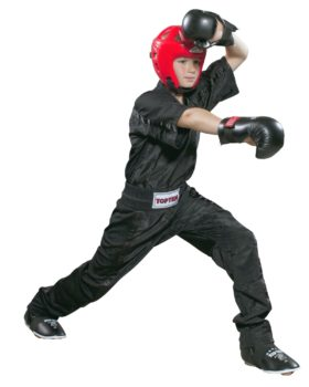 """Top Ten lange kickboksbroek Point Fighting """"Mesh"""" (zwart)"""