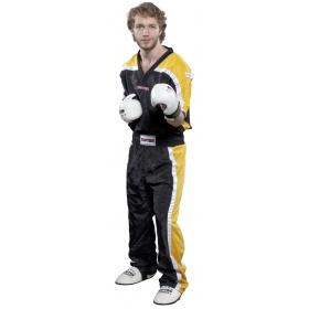 """Top Ten Point Fighting lange kickboksbroek """"Mesh"""" (zwart / geel)"""
