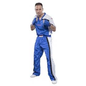 """Top Ten lange kickboksbroek Point Fighting """"Mesh"""" (blauw / wit)"""