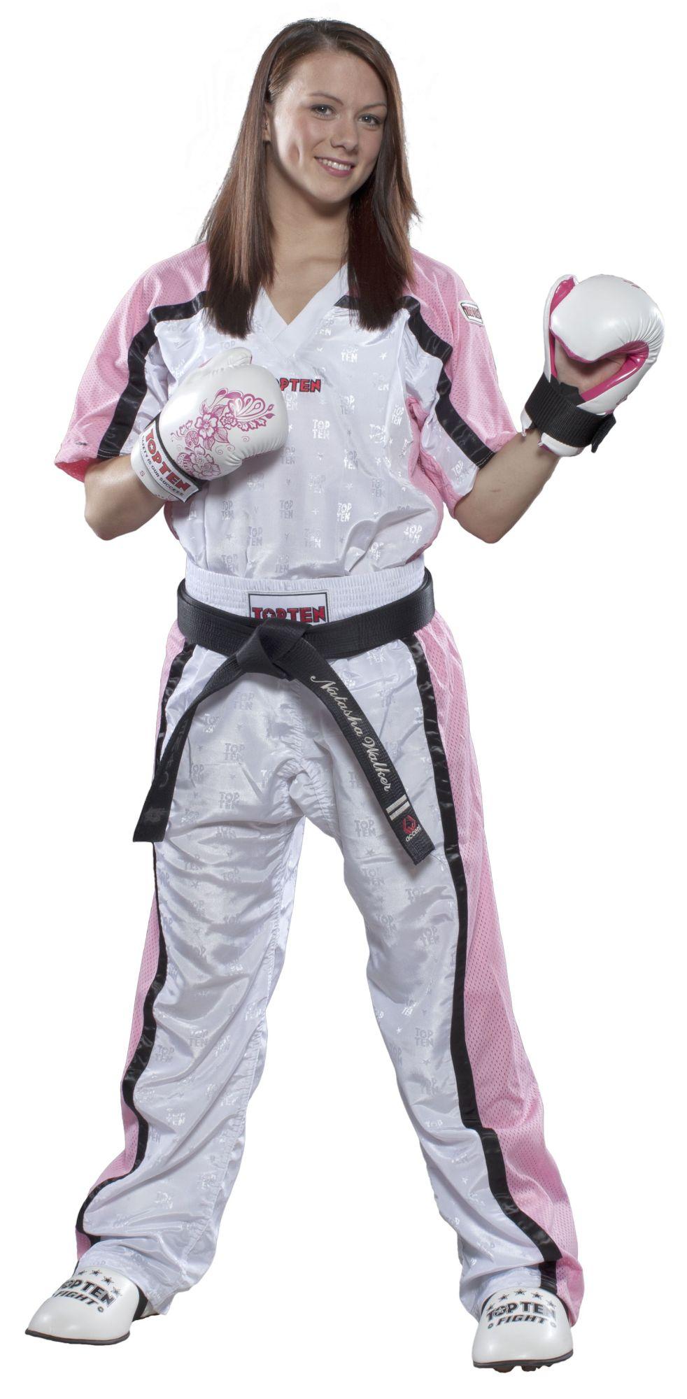 """Top Ten Point Fighting lange kickboksbroek """"Mesh"""" (wit / roze)"""