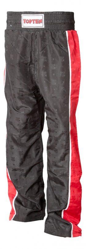 "Kickboksbroek ""Stripes"" Zwart - rood"