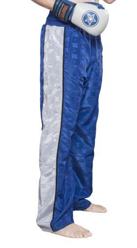 """Kickboksbroek """"Stripes"""" Blauw - Wit"""