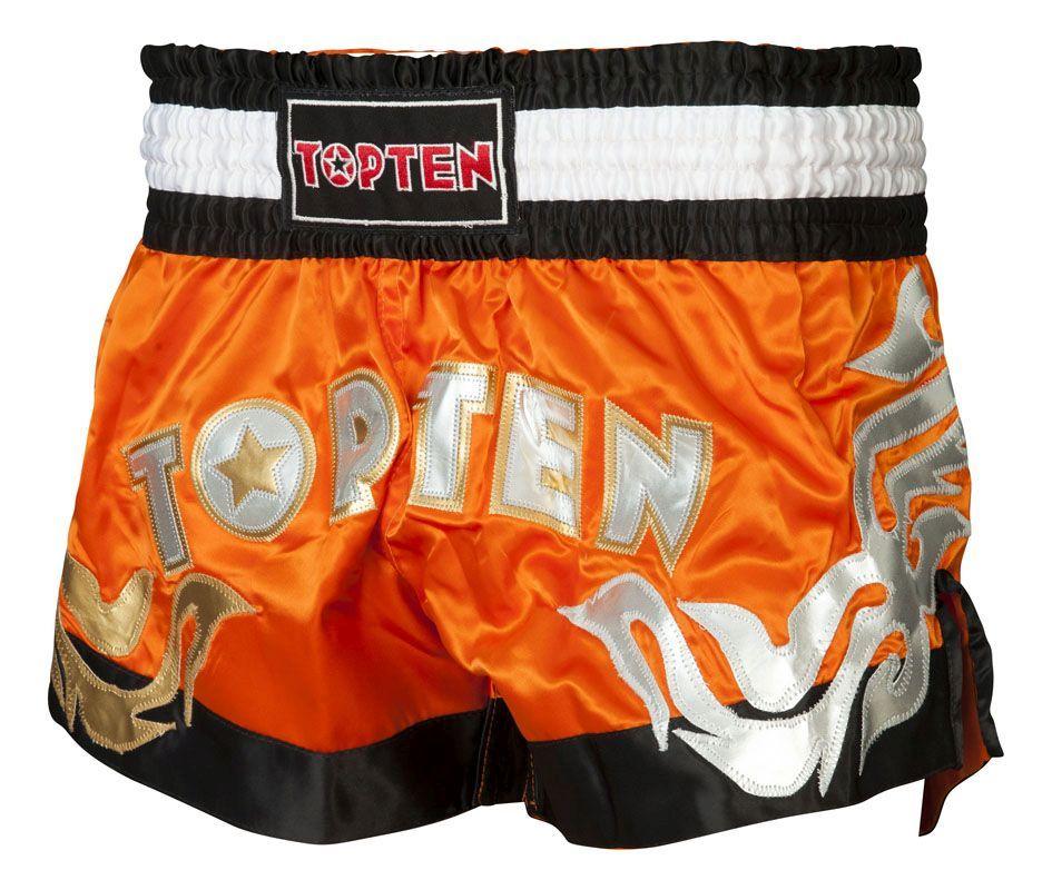 """Kickboksbroekje """"NEON TOP TEN"""" Oranje - Zwart"""