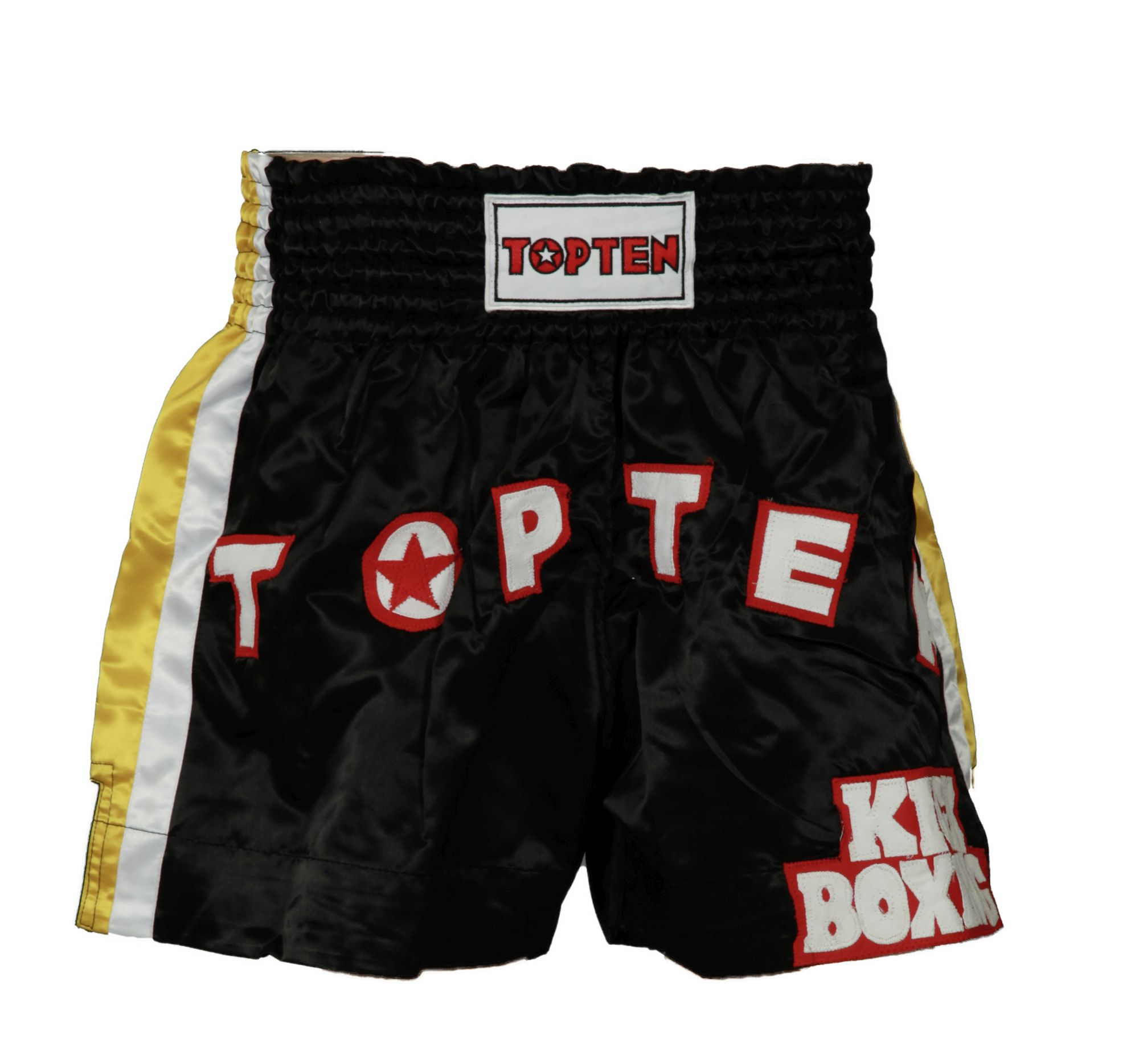 """TOP TEN Kickboksbroekje """"TOP TEN Kickboxing"""" Zwart - Geel"""