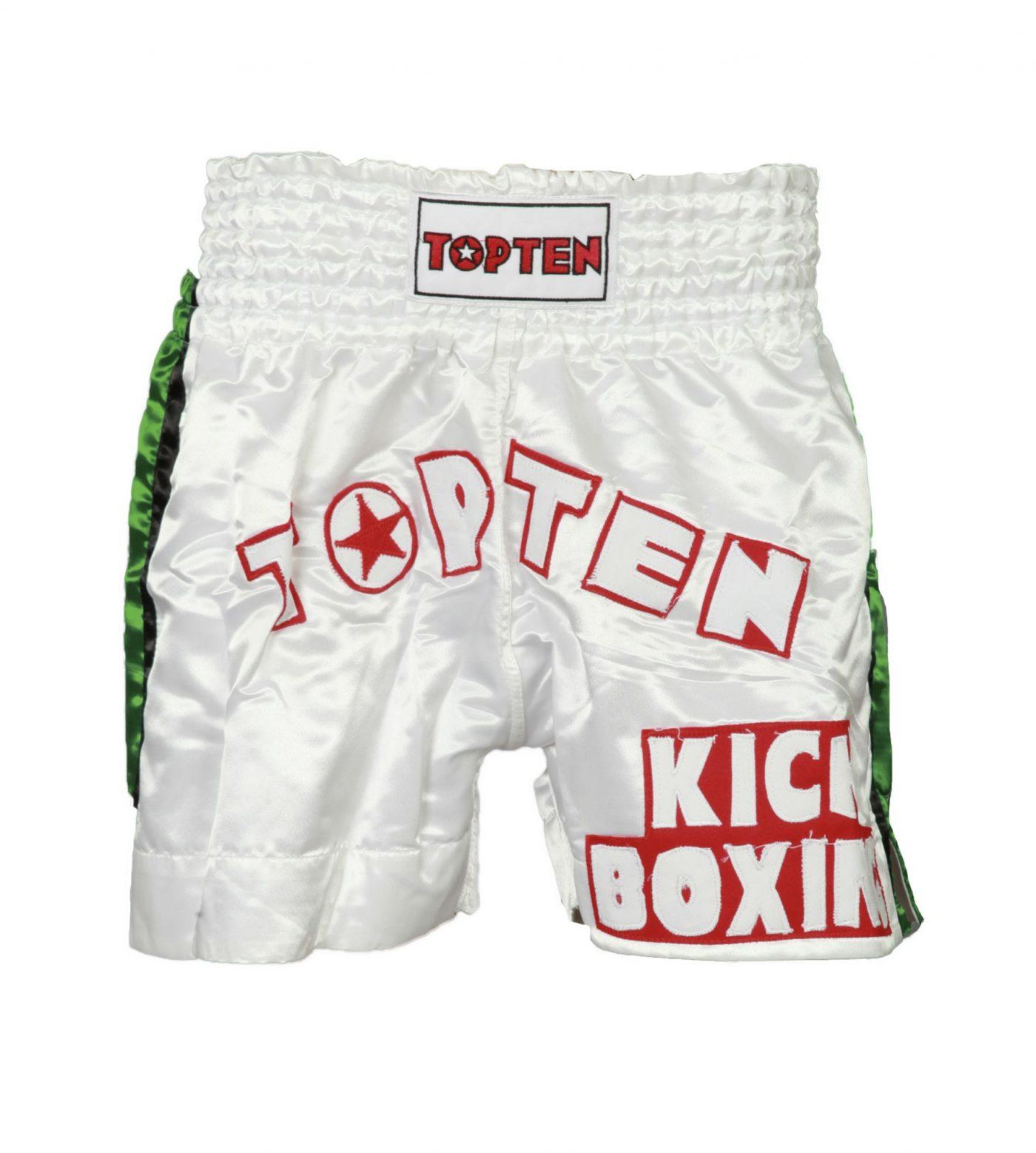 """Kickboksbroekje """"TOP TEN Kickboxing"""" Wit - Groen"""