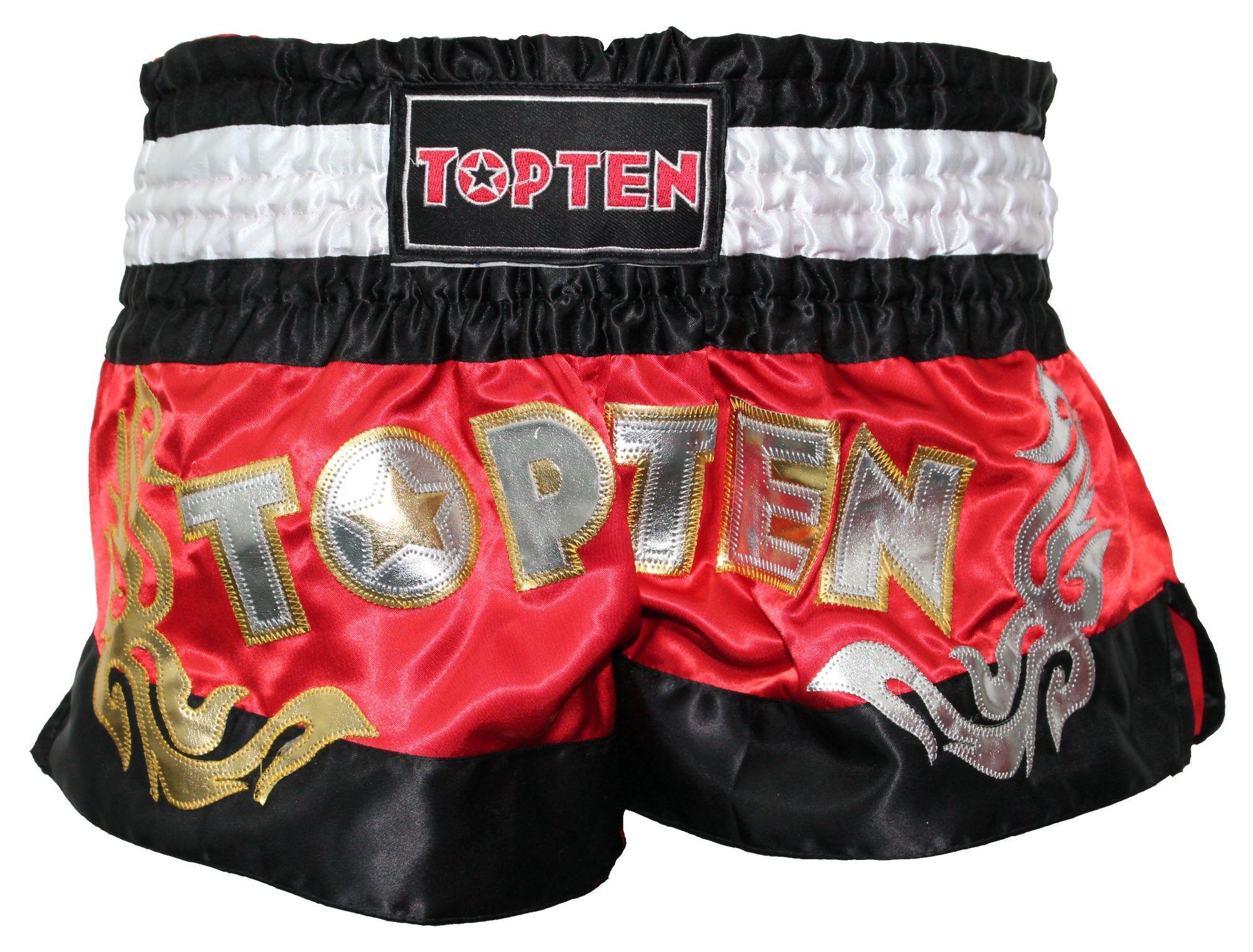 """Kickboksbroekje """"WAKO TOP TEN"""" (Zwart / Rood)"""