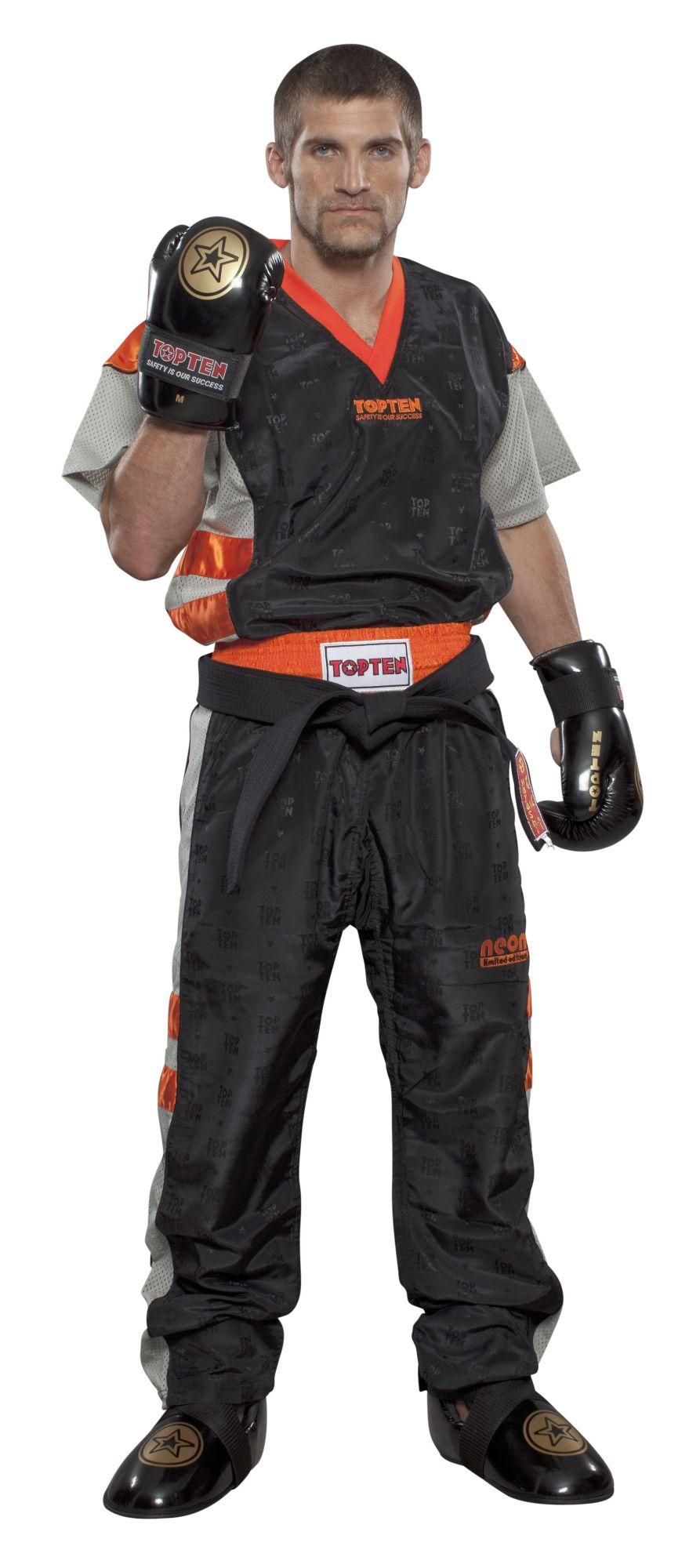 """TOP TEN Kickboksuniform """"NEON Limited"""" voor kinderen Zwart - Oranje"""